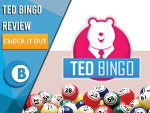 """Pink and white background with Ted Bingo logo with bingo balls. Blue/white square with text to left """"Ted Bingo Review"""", CTA below and Boomtown Bingo logo."""