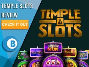 "Black Background with slot machines and Temple Slots logo. Blue/white square to left with text ""Temple Slots Review"", CTA and Boomtown Bingo logo."
