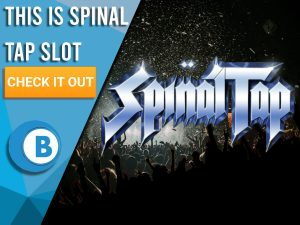 "Background of festival with silhouettes of audience and Spinal Tap logo. Blue/white square to left with text ""This is Spinal Tap Slot"", CTA below that and BoomtownBingo logo under that."