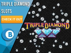 "Black background with diamonds raining with Triple Diamonds logo. Blue/white square with text to left ""Triple Diamond Slots"", CTA below it and BoomtownBingo below that."