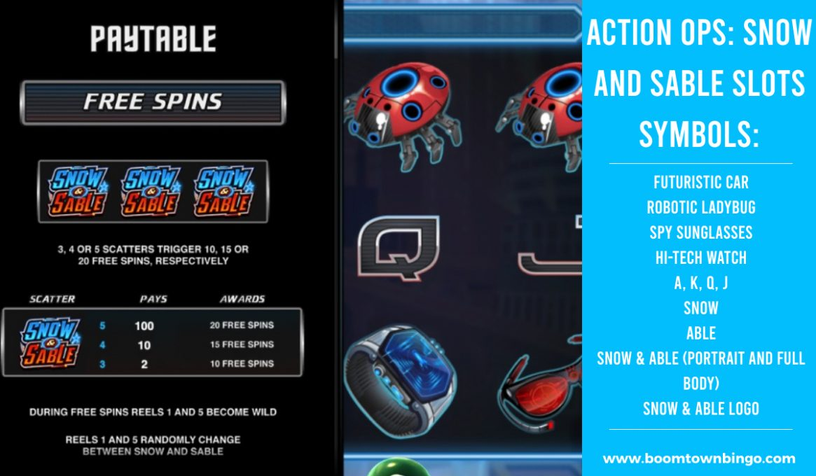 Action Ops Snow and Sable Slot machine Symbols