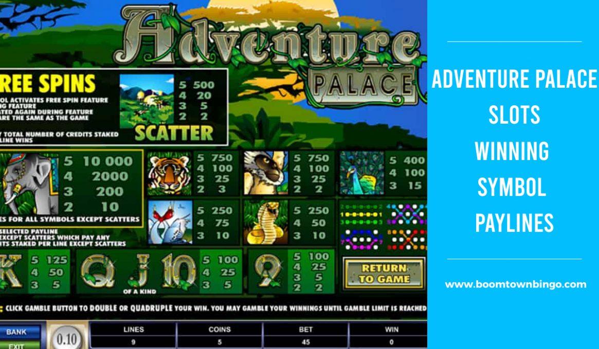 Adventure Palace Slots Winning Paylines