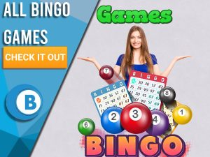 """Background of purple wall paper with bingo logo, woman and word games. Blue/white square to left with text """"All Bingo Games"""", CTA below and BoomtownBingo logo under that."""