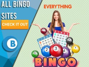 "Background light green with bingo symbols and cards, woman surprised and logo for everything above. Blue/white square to left with text ""All Bingo Sites"", CTA below and BoomtownBingo logo under that."