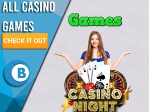 "Pink background with casino night logo, happy woman and word games above. Blue/white square to left with text ""All Casino Games"", CTA beneath and BoomtownBingo logo under that."