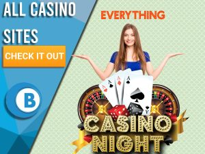 "Green background with casino night logo, happy woman and word everything above. Blue/white square to left with text ""All Casino Sites"", CTA below it and BoomtownBingo logo under that."