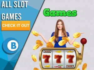 "Purple background with slot machine, woman happy and games above her head. Blue/white square to left with text ""All Slot Games"", CTA below and BoomtownBingo logo under that."