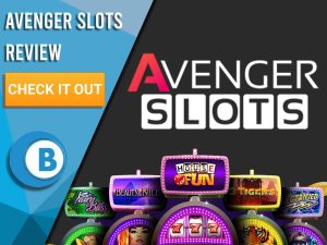 "Black background with slot machines and Avenger Slots logo. Blue/white square to left with text ""Avenger Slots Review"", CTA below and Boomtown Bingo logo."