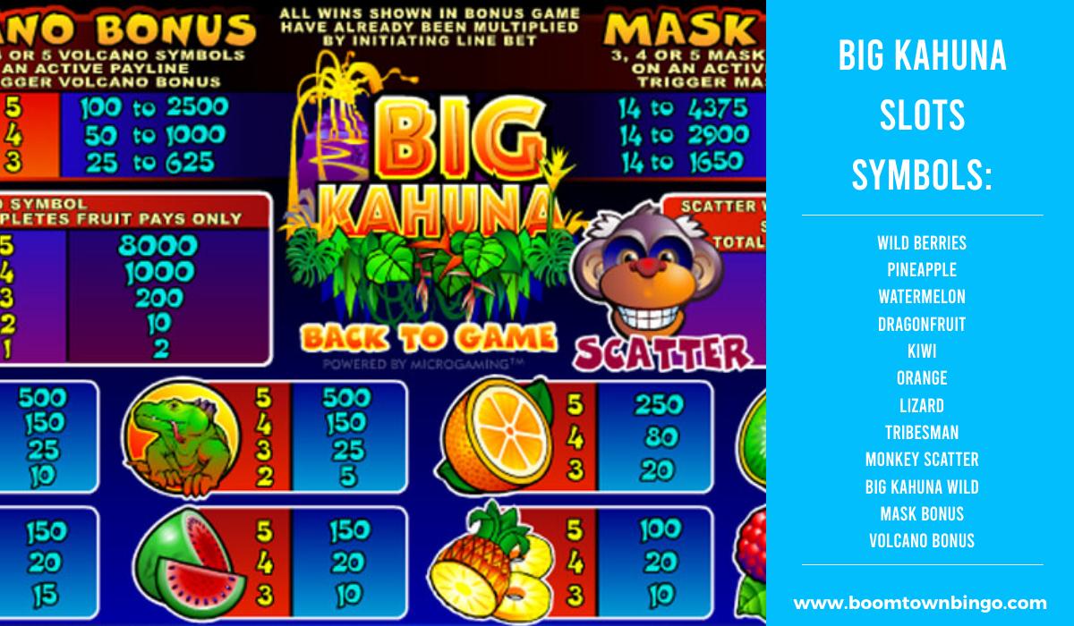 Big Kahuna Slots machine Symbols