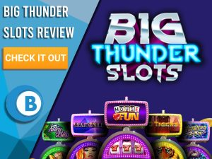 "Purple background with slot machines and Big Thunder Slots logo. Blue/white square to left with text ""Big Thunder Slots Review"", CTA below and Boomtown Bingo logo."