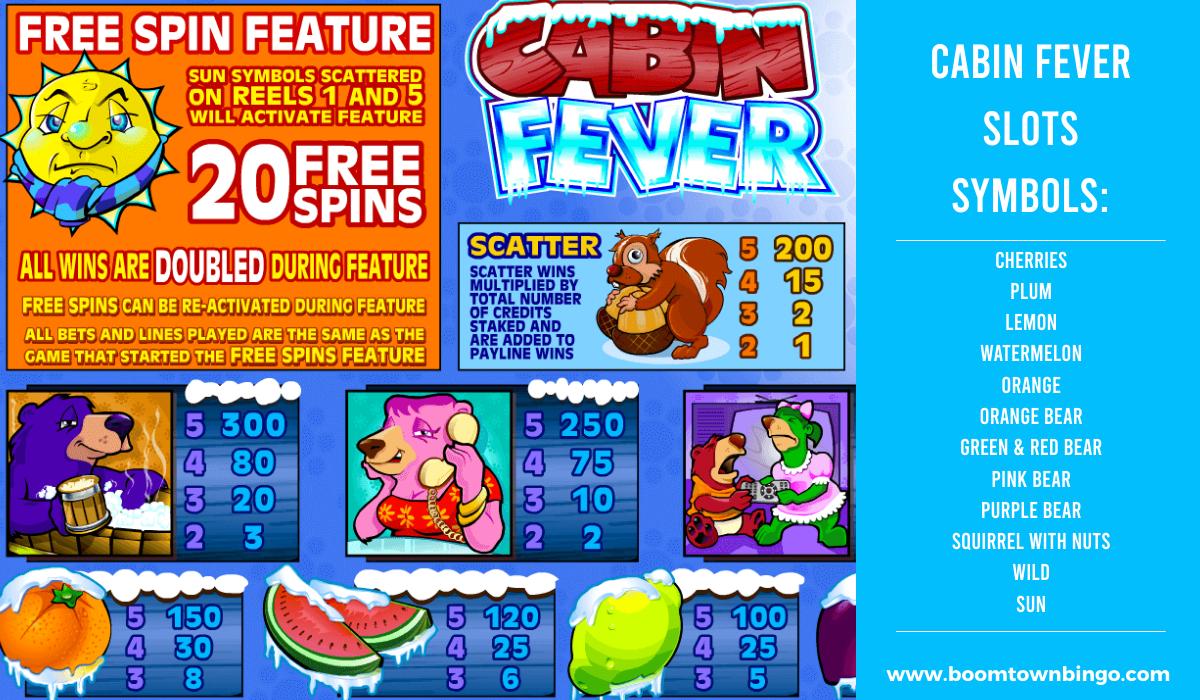 Cabin Fever Slots machine Symbols