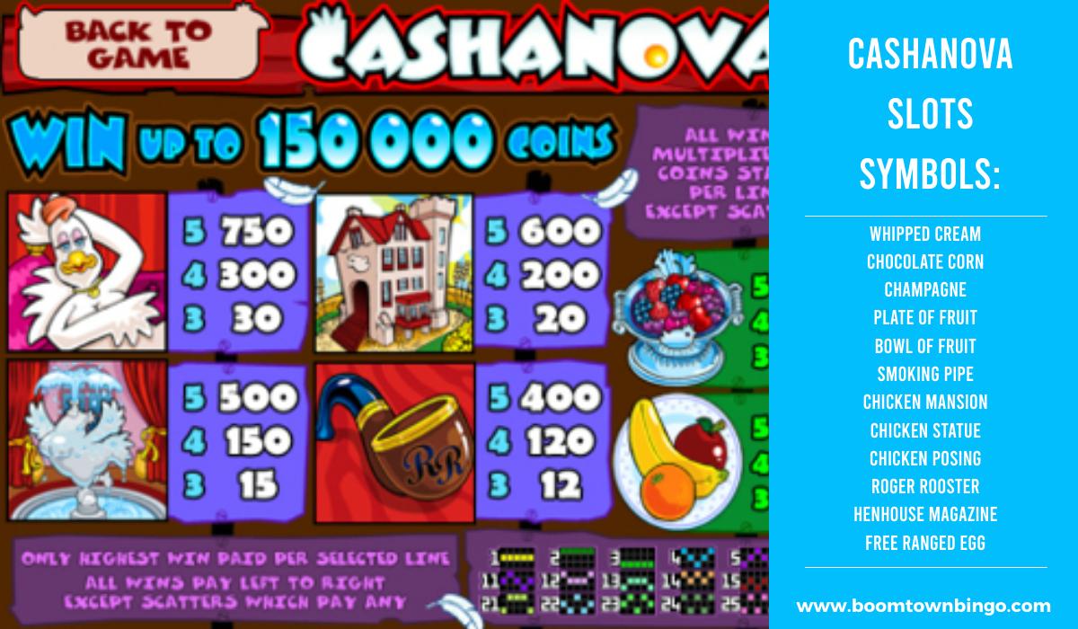 Cashanova Slots machine Symbols