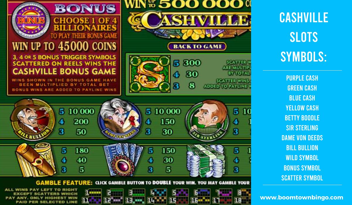 Cashville Slots machine Symbols
