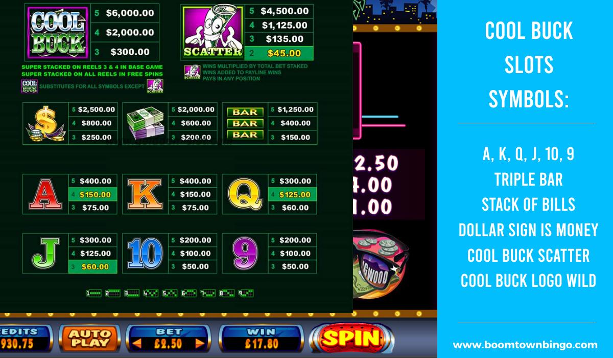Cool Buck Slots machine Symbols