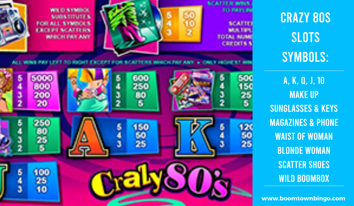 Crazy 80s Slots machine Symbols