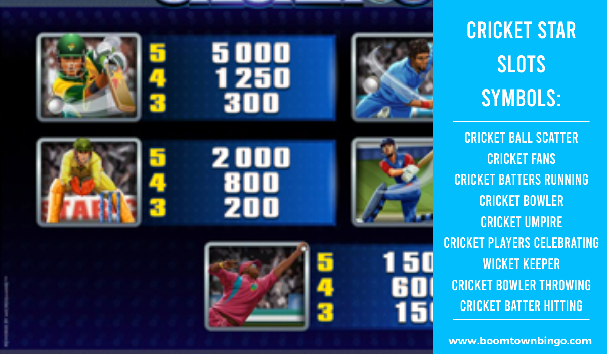 Cricket Star Slots machine Symbols