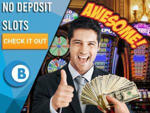 """Background of slots with man with thumbs up, cash being given to him and Awesome word. Blue/white square to left with text """"No Deposit Slots"""", CTA below and BoomtownBingo logo under that."""