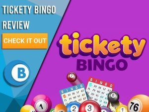 """Purple background with bingo balls and cards, tickety bingo logo in centre. Blue/white square to left with text """"Tickety Bingo Review"""", CTA below and Boomtown Bingo logo underneath."""