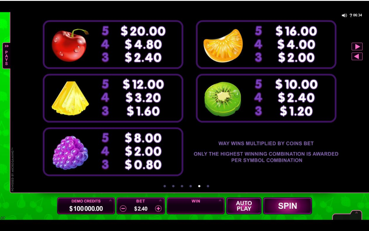 Fruit vs Candy Slots Paytable