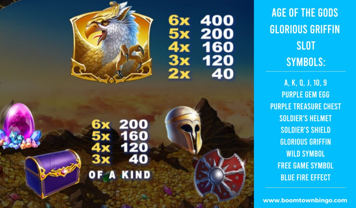 Age of the Gods Glorious Griffin Slot machine Symbols