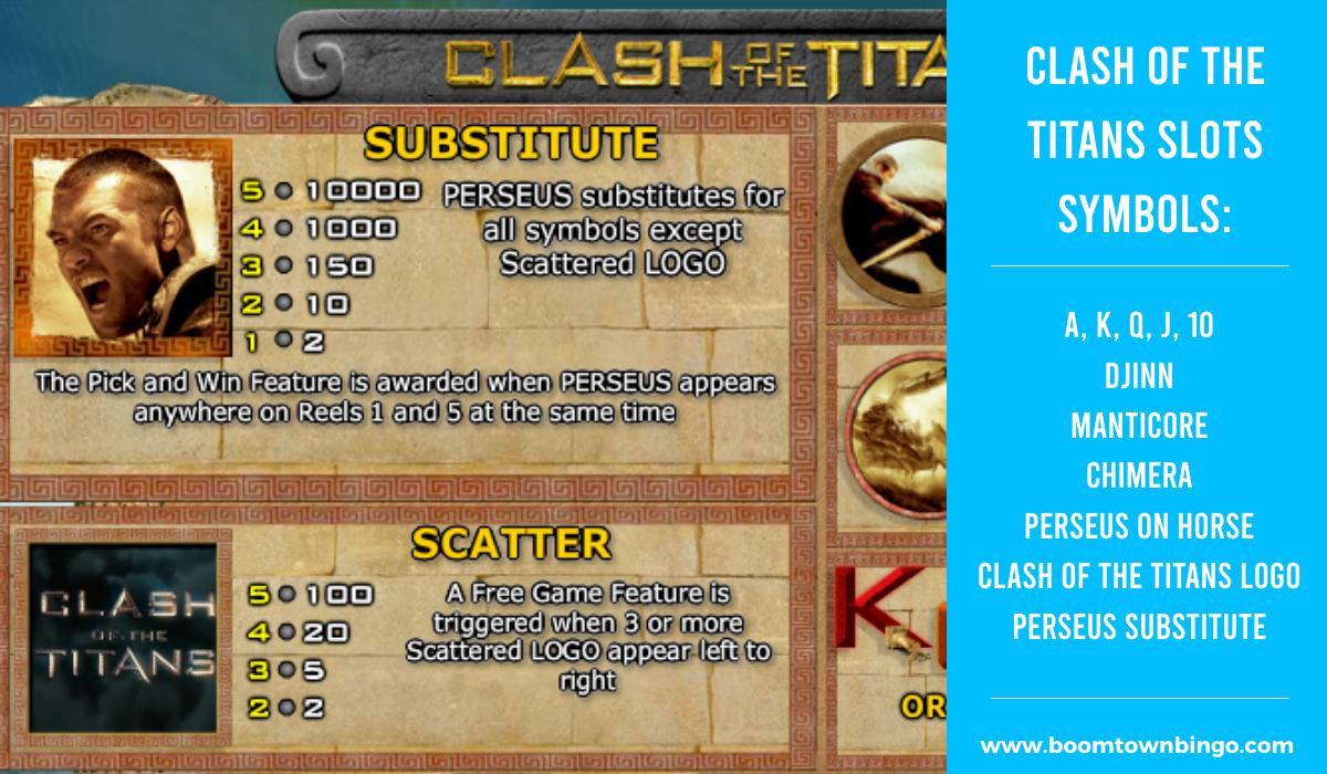Clash of the Titans Slots machine Symbols