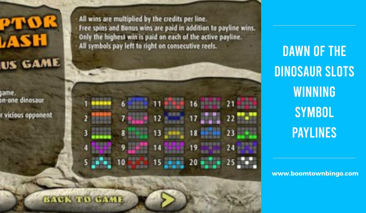 Dawn of the Dinosaur Slots Symbol winning Paylines
