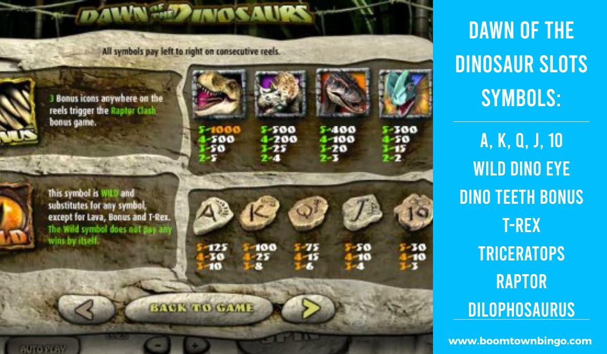Dawn of the Dinosaur Slots machine Symbols
