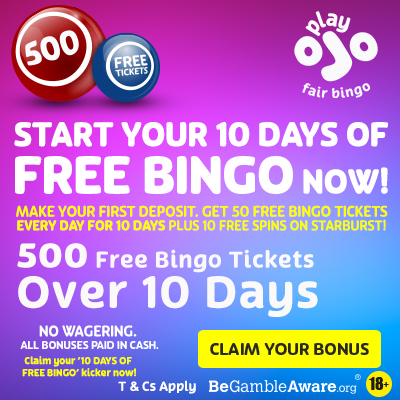 PlayOJO 10 days of free bingo