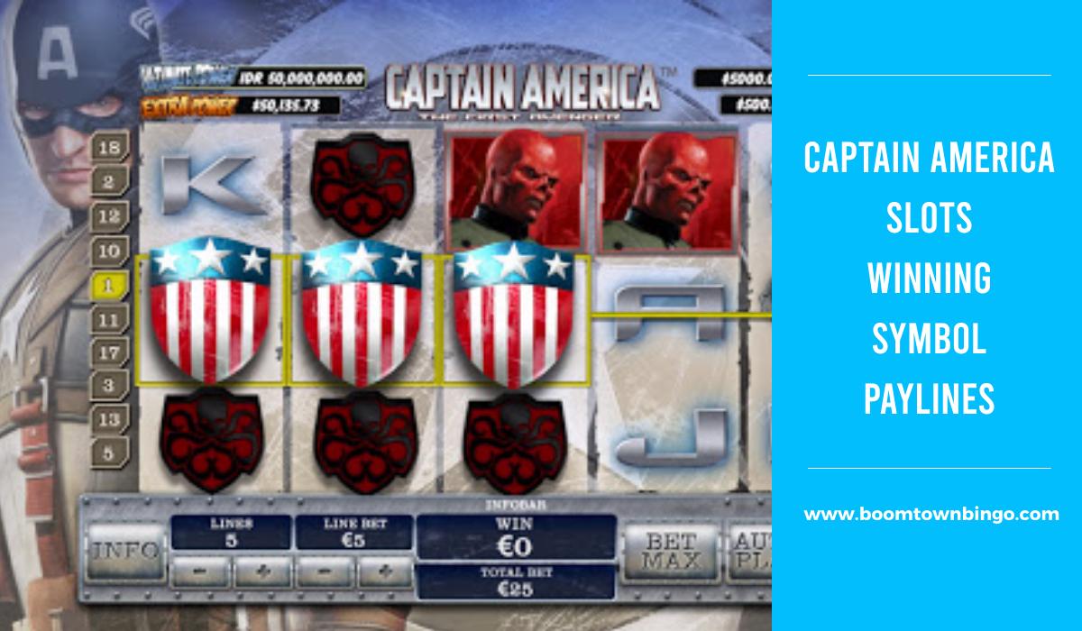 Captain America Slots Symbol winning Paylines