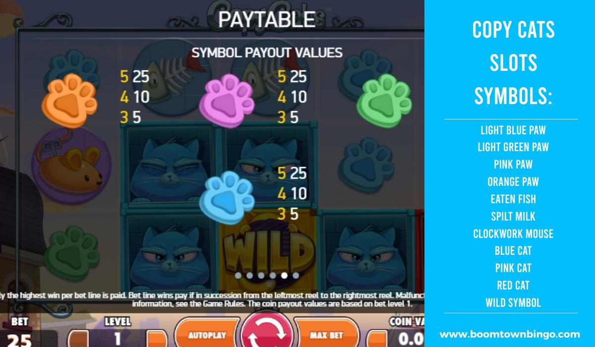 Copy Cats Slots machine Symbols