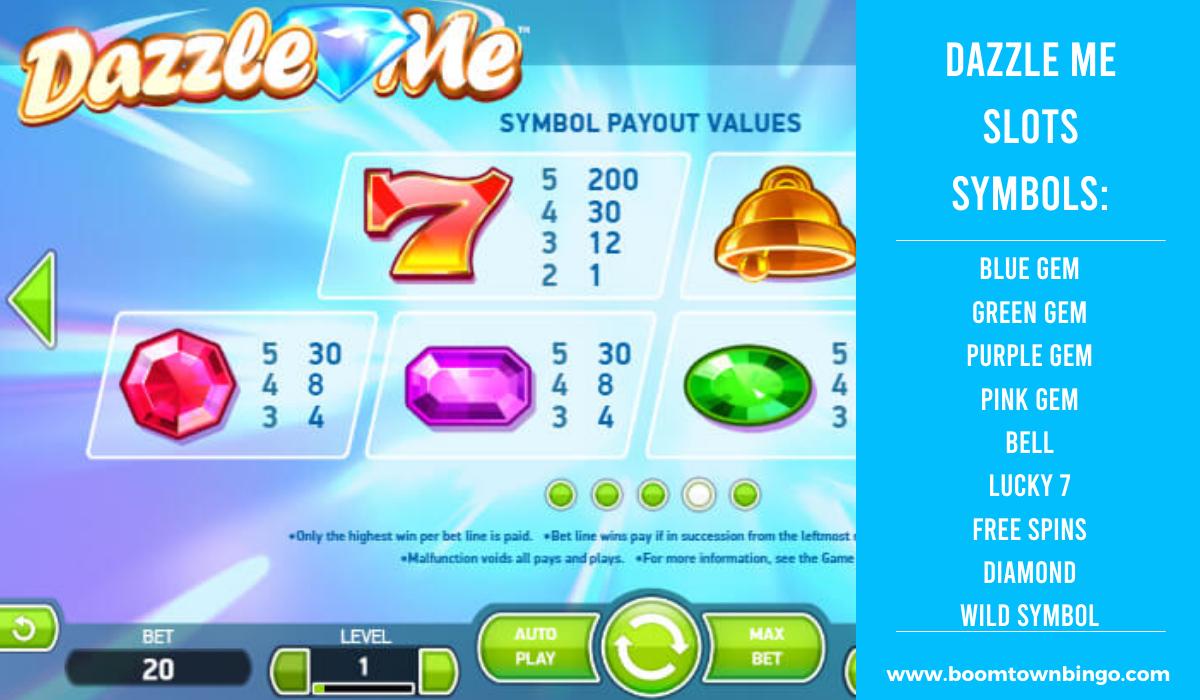 Dazzle Me Slots machine Symbols