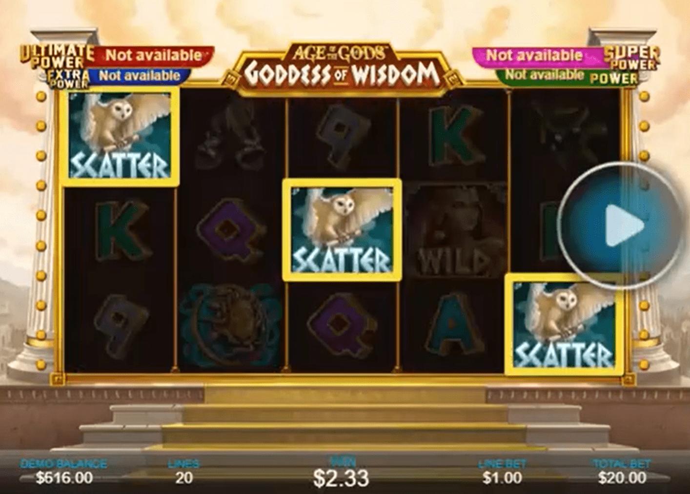 Age of the Gods Goddess of Wisdom Slot Machine Paylines