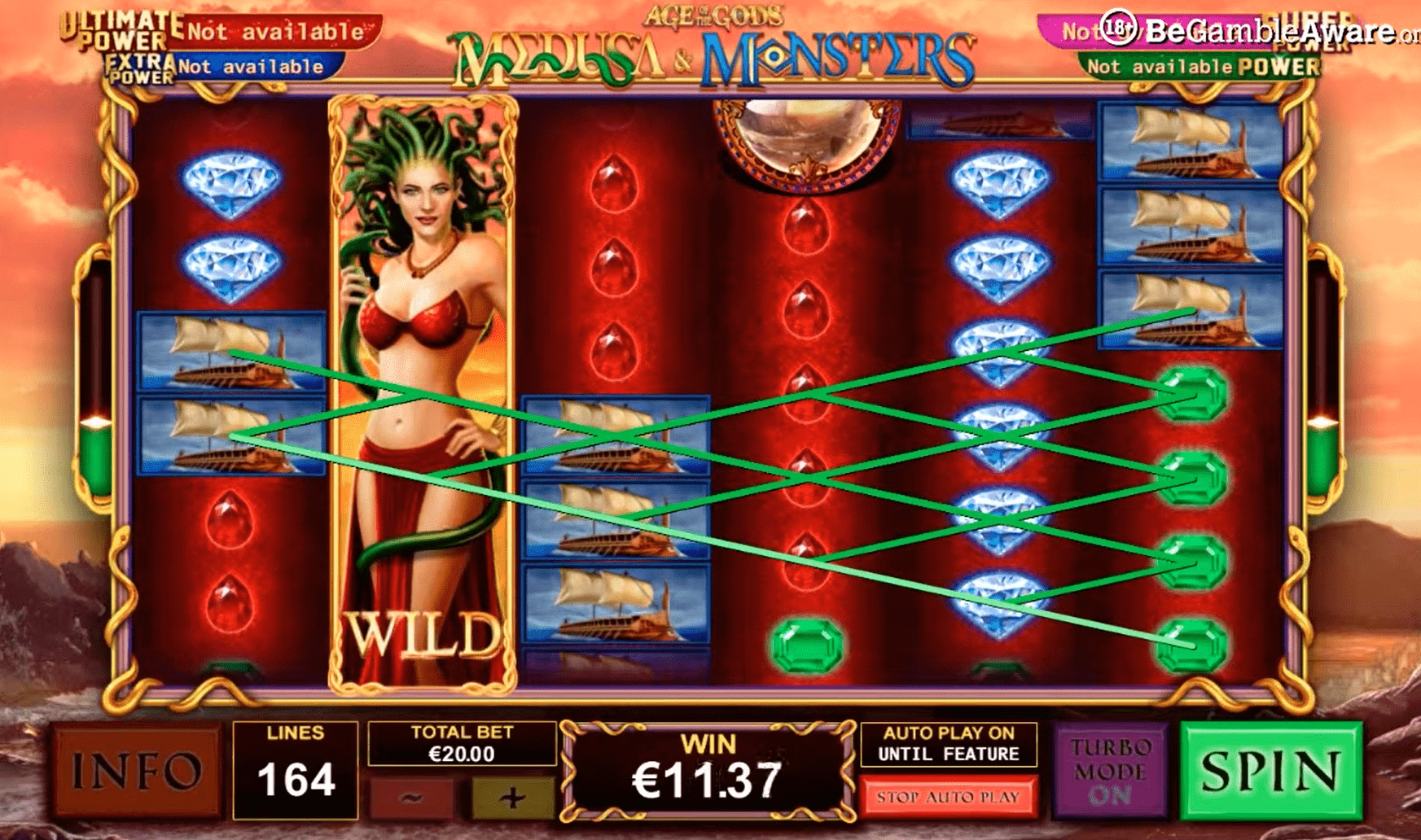 Age of the Gods Medusa and Monsters Slot Machine Winning