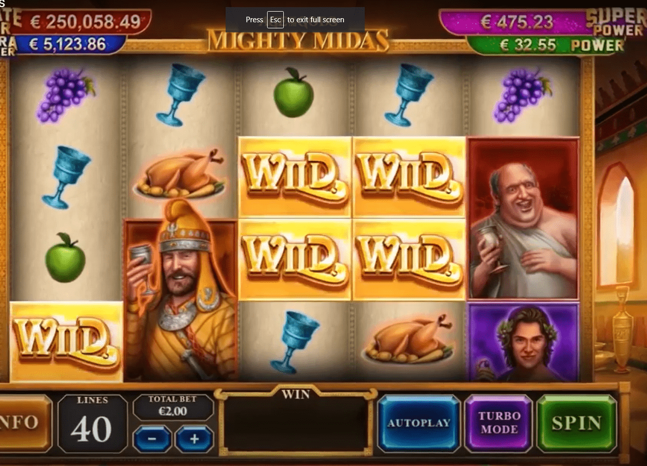 Age of the Gods Mighty Midas Slot Machine Paylines