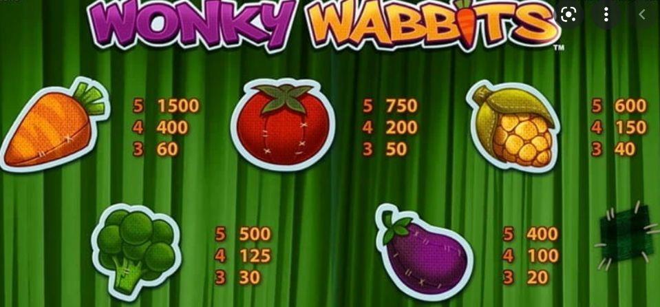 Wonky Wabbits Slot Machine pay table
