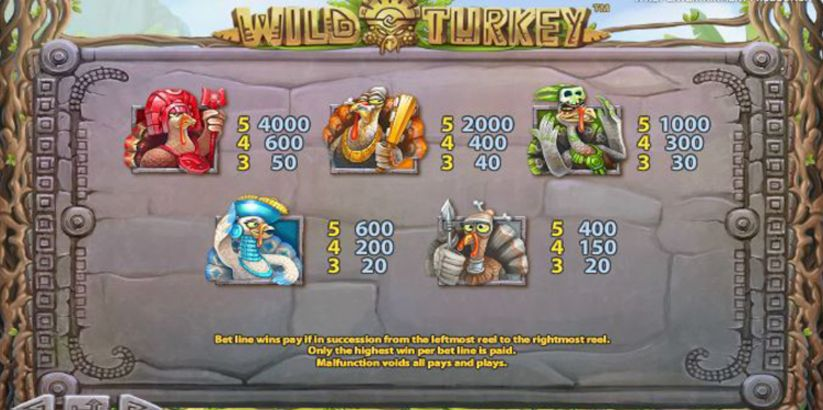 Wild Turkey Slot Machine pay table