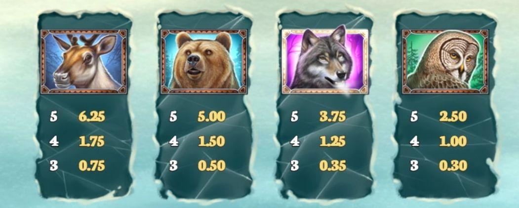 Wild North Slot Machine pay table