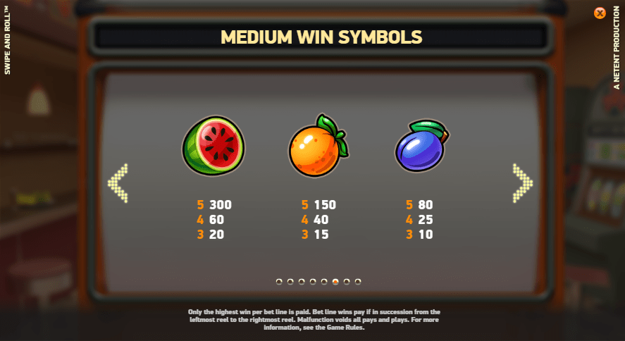 Swipe and roll slots paytable