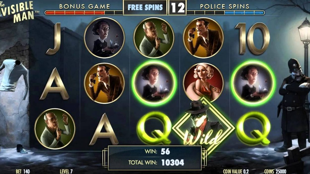 The Invisible Man slot reels