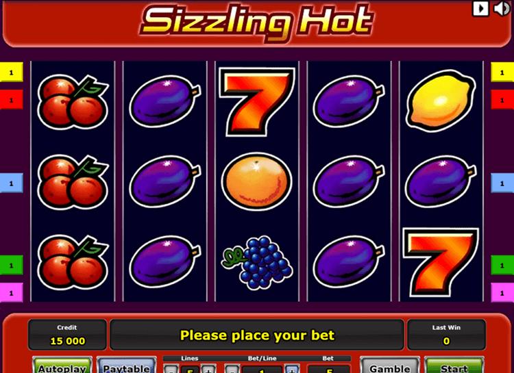 sizzling hot slots reels